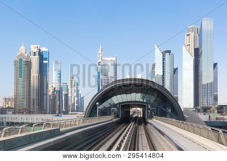 Dubai, United Arab Emirates - March 10th 2019: Dubai Metro. A View Of The City From The Subway Car M