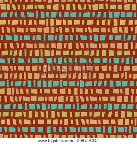 Blue And Gold Mosaic Prairie Style Horizontal Striped Design. Seamless Vector Pattern On Burnt Siena