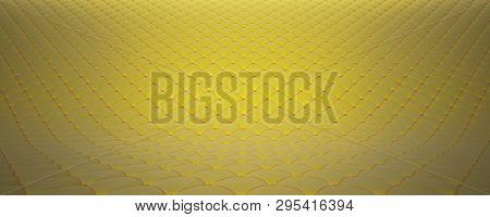 Quilted Fabric Surface. Yellow Velvet And Orange Velvet. Option 2