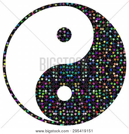 yin yang chinese  illustration feng shui  balance zen silhouette taoism  light balls poster