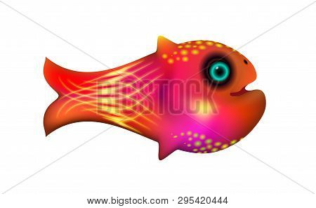 Red Little Fish. Cartoon Funny Life Illustration Of Sea Animal Symbol. Marine Stock. Optimized From