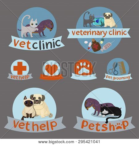 Vet Clinic,pet Shop And Grooming Simple Veterinary Medicine Icons,pet Shop And Grooming Icons Set.