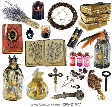 Design set with witch book, magic bottle, herbs, black candle isolated on white. Wicca, esoteric, divination and occult concept with vintage magic objects for mystic rituals poster