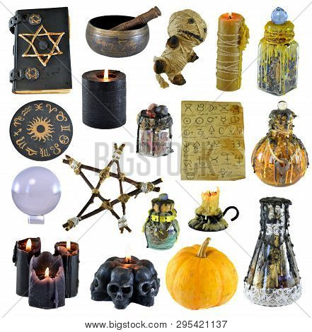 Design set with pentagram, pumpkin, witch book, black candle isolated on white. Wicca, esoteric, divination and occult concept with vintage magic objects for mystic rituals poster