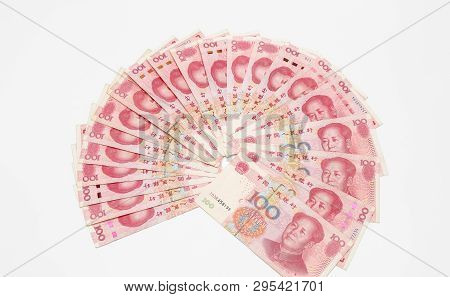 Chinese 100 Rmb ,yuan Banknotes From China's Currency.