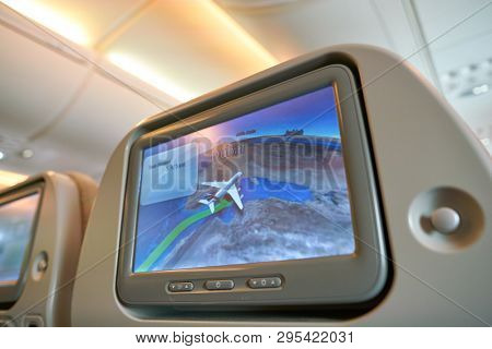 HONG KONG, CHINA - CIRCA FEBRUARY, 2019: a moving-map system in Economy Class of Emirates Airbus A380.