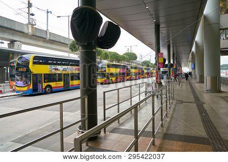 HONG KONG, CHINA - CIRCA JANUARY, 2019: double-decker buses at Hong Kong Airport Bus Terminus.