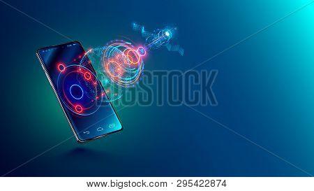 Mobile Global Internet Communications. World Wide Web On Phone Via Wireless Satellite Network Techno