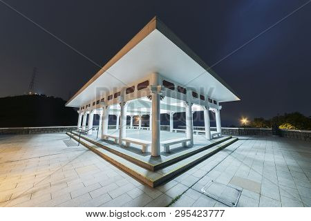 Pavilion In Park In Hong Kong At Night