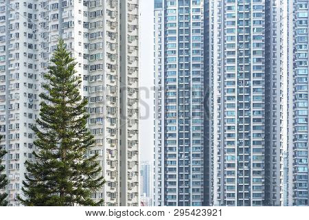 Exterior Of High Rise Residential Building In Hong Kong City