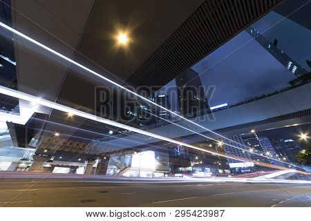 Traffic In Downtown Of Hong Kong City At Night