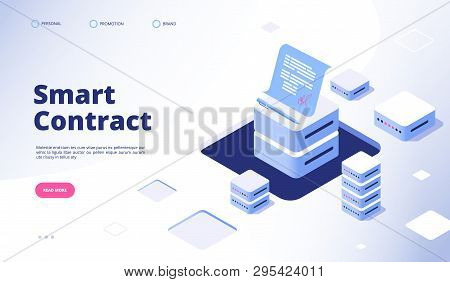 Smart Contract Concept. Digital Signature Document Smart Contracts Finance Data Cryptography Contrac