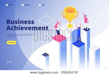 Success Team Isometric Concept. Business Triumph Achievement Corporate Mission Best Award Competitio