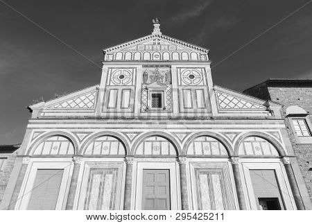 Church San Miniato Al Monte In Florence, Italy. It Is A Basilica In Florence, Central Italy, Standin