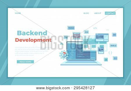 Backend Development, Coding, Software  Engineering, Programming Languages. Program Code On Laptop Sc