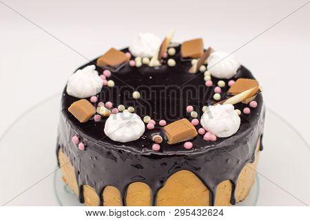 Homemade Chocolate Cake With Marshmallow, Caramel, Sugar