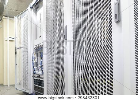 Technical Wall Of Cellular Data Terminal Rows Ready For Checking