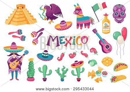 Mexican Culture Traditional Symbols Collection. Sombrero With Guitar,  Maracas, Cactus And Jalapeno