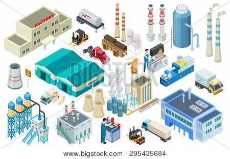 Isometric Industrial Buildings, Workers, Delivery Trucks, Factory And Warehouse Vector Collection. I