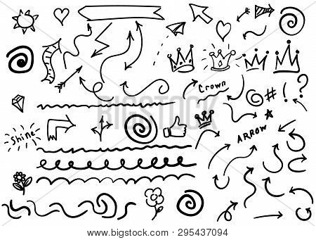 Swishes, Swoops, Emphasis Doodles. Highlight Text Elements, Calligraphy Swirl, Tail, Flower, Heart,