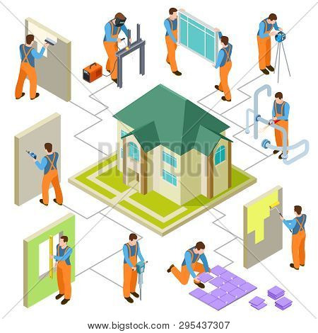 Construction, Reconstruction And Repair Of The House Isometric Vector Concept. 3d Repair Constructio