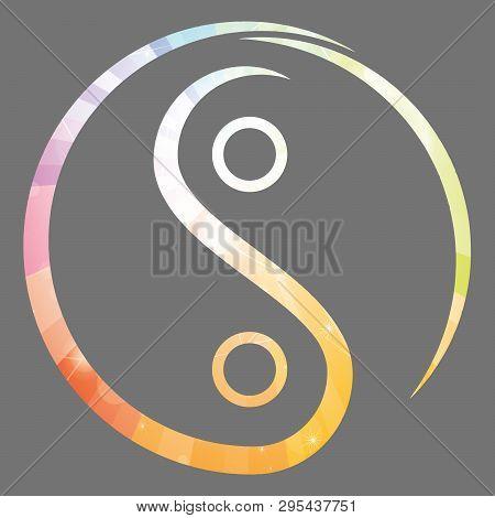 spiritual harmony yin yang chinese illustration feng shui  balance zen silhouette taoism lights poster