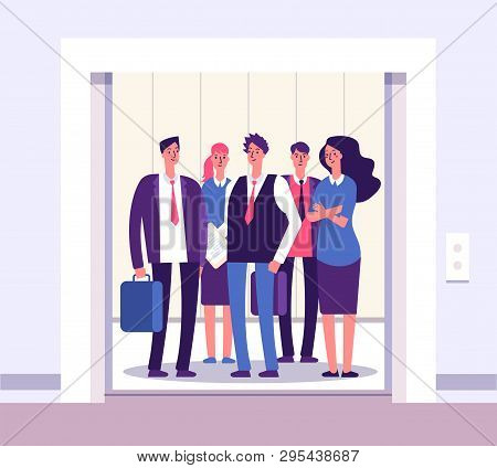 People Elevator. Lift Persons Standing Woman Man Group Inside Elevators Office Interior With Open Do