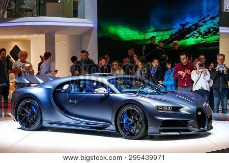 Geneva, Switzerland - March 11, 2019:  Luxury Hypercar 110 Ans Bugatti Presented At The Annual Genev