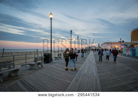 Asbury Park, New Jersey - November 25: The Asbury Park Boardwalk After Sunset On November 25 2017 In