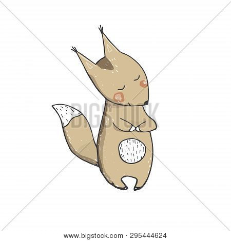 Squirrel Clings To Tail Character Art Vector Bun Forest Animal Face Smile Full Ribbon Cute Wildlife