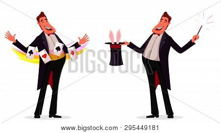 Illusionist Shows Magical Tricks With Cards And With Magic Wand And Cylinder, Set Of Two Poses. Magi
