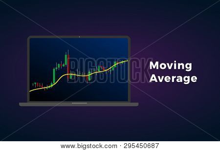 Moving Average Indicator Technical Analysis. Vector Stock And Cryptocurrency Exchange Graph, Forex A