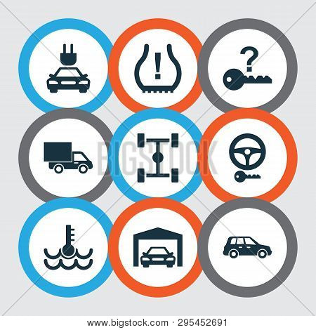 Car Icons Set With Chassis, Garage, Crossover And Other Tire Pressure Low Elements. Isolated Vector