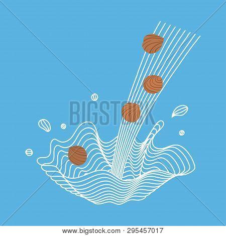 Vector Splash Of Hazelnut Milk With Nuts. Vegan Alternative Organic Filbert Milk Splash Pour . Non D