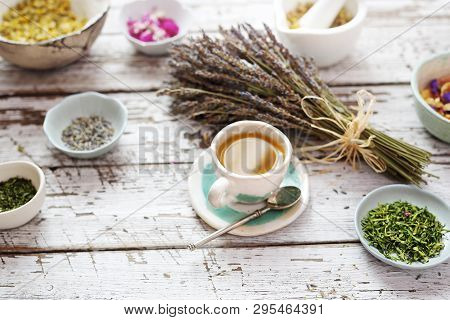 Herbal Infusion Of Herbs With The Addition Of Lavender. An Aromatic Tea For Calming.