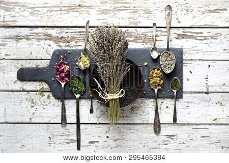 Dried Lavender Bouquet, Surrounded By Field Herbs.