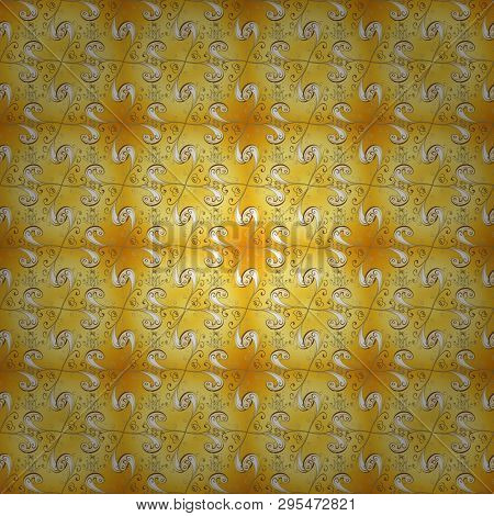 Yellow And Beige Colors With Golden Elements. Gold Metal With Floral Pattern. Vector Golden Floral O