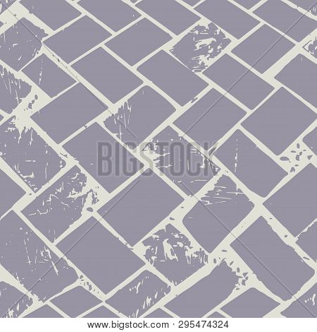 Abstract Terrazzo Floor Weave Pastel Grunge Stone Texture. Seamless Vector Pattern On Grey Backgroun