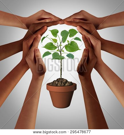 Diverse People Caring Together As A Diverse Group Uniting And Joining Hands Into The Shape Of An Ins