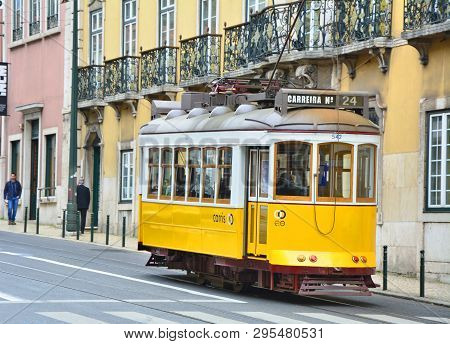 Lisbon, Portugal, 2 May 2018: Yellow Tram Funicular On Lisbon Street.