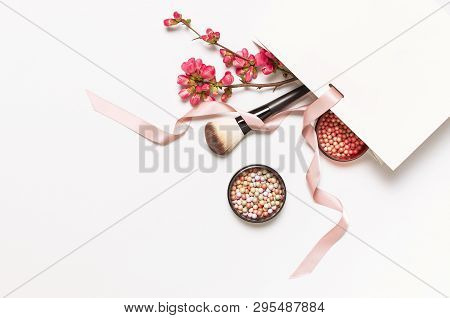 Ball Blush Rouge And Face Powder, Makeup Brush, Spring Pink Flowers In White Gift Package On Light B