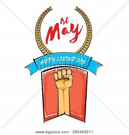 Happy Labour Day Vector Label With Strong Orange Fist Isolated On White Background. Vector Happy Lab