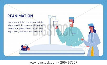 Reanimation Flat Vector Template With Text Space. Emergency Room. Ambulance. Unconscious Patient On