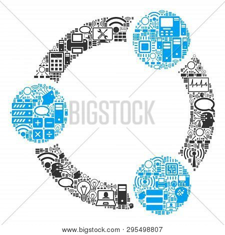 Cooperation Composition Icon Organized For Bigdata And Computing Illustrations. Vector Cooperation M