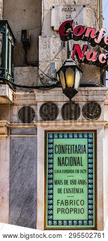 Lisbon, Portugal - 2019. Confeitaria National Downtown, Praca Da Figueira, One Of The Oldest Sweet A