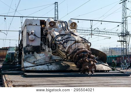 Perm, Russia - April 10, 1019: Tunnel Boring Machine Of Isis Militants, Seized As A Trophy By The Ru