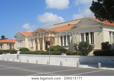 Paphos, Cyprus, April 11th, 2019: Facade Of The Archbishop Makarios Iii Lyceum Building On A Sunny D