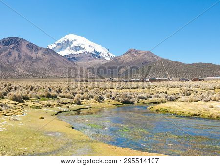 High Andean Tundra Landscape In The Mountains Of The Andes. The Weather Andean Highlands Puna Grassl