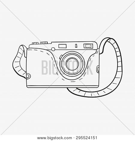 Retro Camera In Cartoon Style Outline. Single Object Isolated On White Background