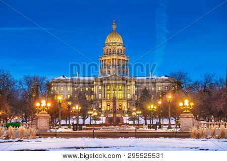 Denver, Colorado, USA at the Colorado State Capitol during a winters night.